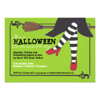 Fun Wicked Witch on Broom Halloween Costume Party Invitation