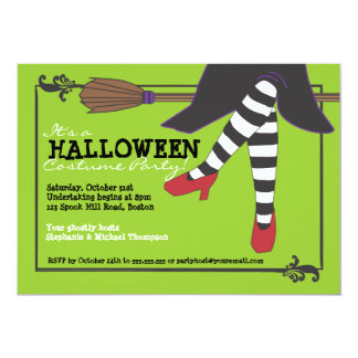 "Fun Wicked Witch on Broom Halloween Costume Party 5"" X 7"" Invitation Card"