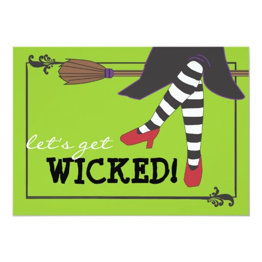 Fun Wicked Witch on Broom Halloween Party 13 Cm X 18 Cm Invitation Card