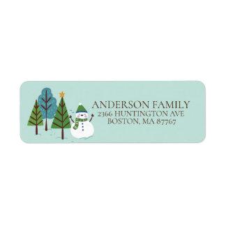 Fun Winter Snowman Christmas Address Label