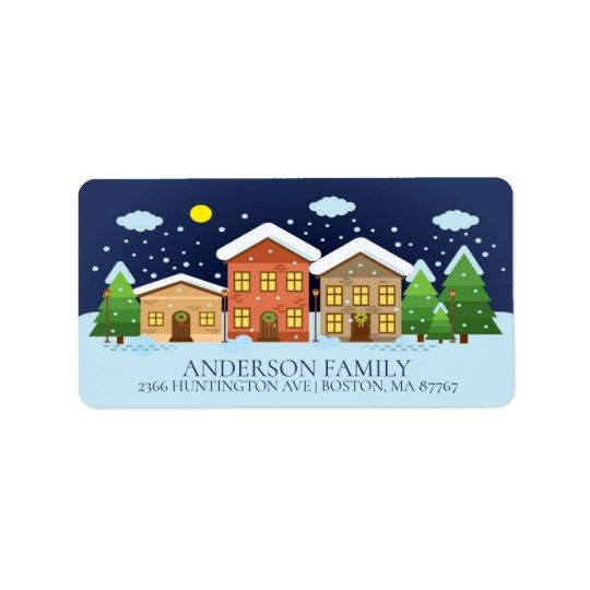 Fun Winter Village Snowman Christmas Address Label