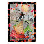 Fun Witch and Cat Halloween Card