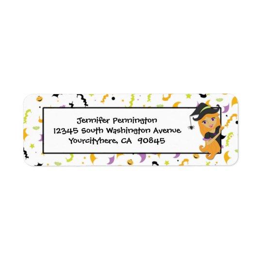 Fun witch Halloween return address envelope labels