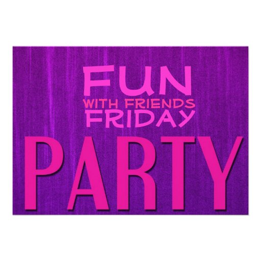 Fun with Friends Pink Purple Party Invitations