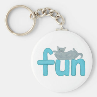 fun word in aqua with playful gray cat keychain