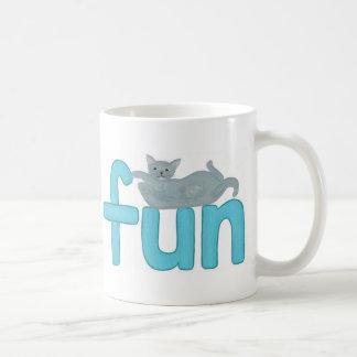 Fun word in aqua with playful gray cat, mugs