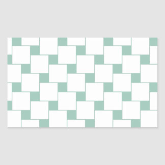 Fun Woven Squares Mint Green Rectangle Sticker