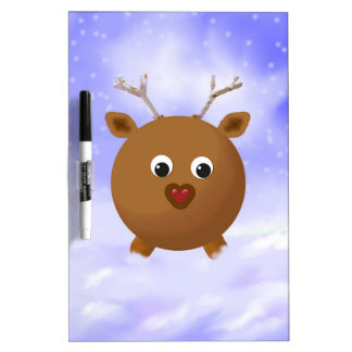 Fun Xmas Reindeer with Red Nose in the Snow Dry Erase Board