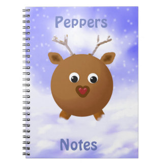 Fun Xmas Reindeer with Red Nose in the Snow Notebooks