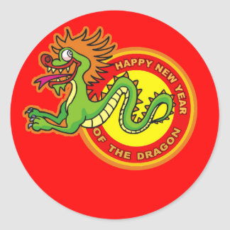 Fun Year of the Dragon Design Round Sticker
