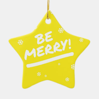 Fun Yellow Be Merry Marker Pen Holiday Snowflakes Ceramic Star Decoration