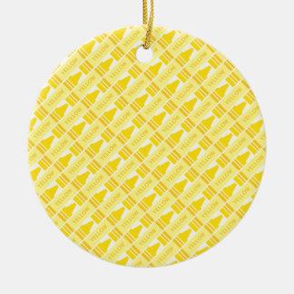 Fun Yellow Crayon Pattern Christmas Ornament