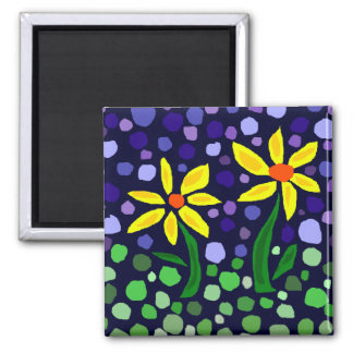 Fun Yellow Daisies Floral Abstract Square Magnet