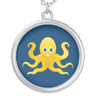 Fun yellow octopi silver plated necklace