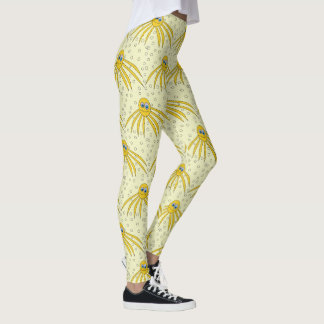 Fun Yellow Octopus Swimming Pattern Leggings