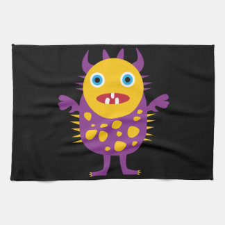 Fun Yellow Purple Monster Creature Gifts for Kids Tea Towel