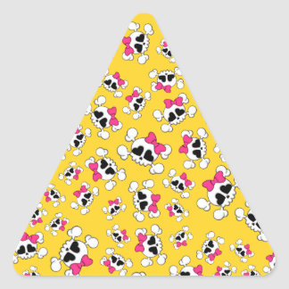 Fun yellow skulls and bows pattern triangle sticker