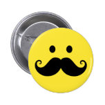 Fun yellow smiley face with handlebar moustache 6 cm round badge