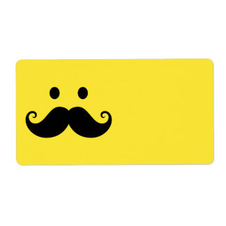 Fun yellow smiley face with handlebar mustache