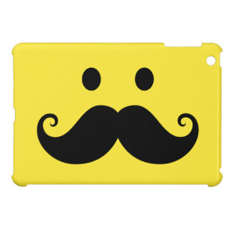 Fun yellow smiley face with handlebar mustache iPad mini case