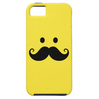 Fun yellow smiley face with handlebar mustache iPhone 5 cover