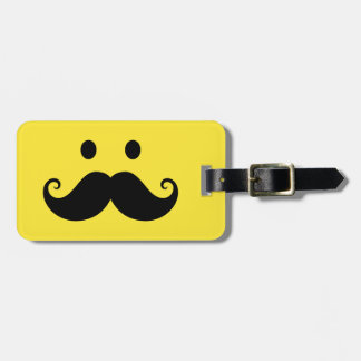 Fun yellow smiley face with handlebar mustache luggage tag
