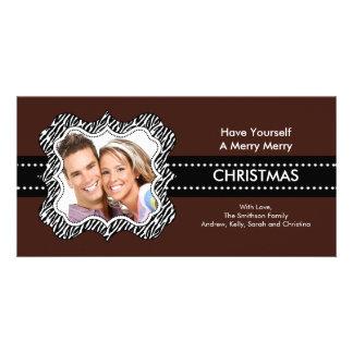 Fun Zebra Frame Christmas Photo Card. Customised Photo Card