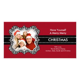 Fun Zebra Frame Christmas Photo Card. Photo Card