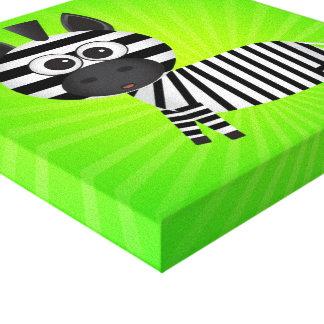 Fun Zebra Green Canvas Gallery Wrap Canvas