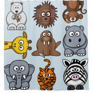 Fun Zoo Animals Shower Curtain