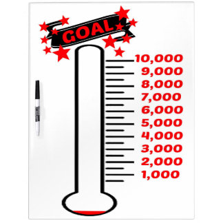 Fundraising Goal Thermometer 10K Goal Dry Erase Board