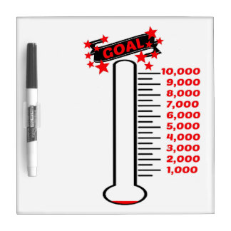 Fundraising Goal Thermometer 10K Goal Dry-Erase Whiteboards