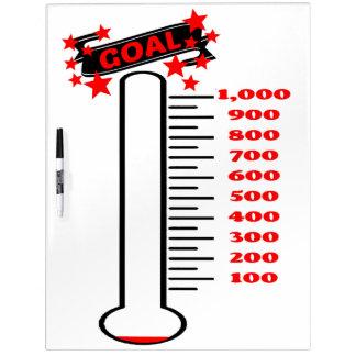 Fundraising Goal Thermometer 1K Goal Dry-Erase Whiteboard
