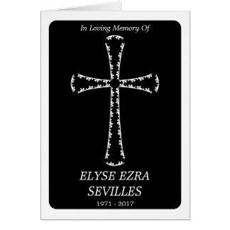 funeral announcement : elegant cross greeting card