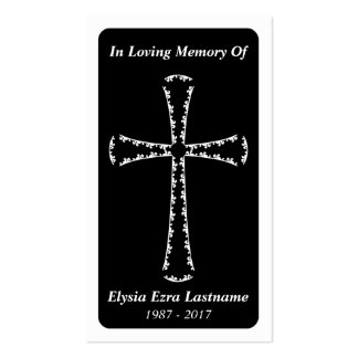 funeral card . elegant cross pack of standard business cards