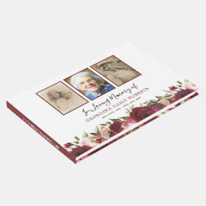 Funeral Condolence | 3 Photo Memorial Floral Guest Book