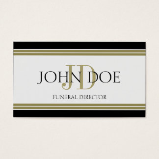 Funeral Director Black Gold Stripes Business Card