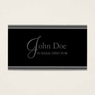 Funeral Director Black/Grey Stripes Business Card