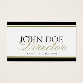 Funeral Director Gold Script Business Card