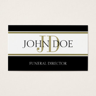 Funeral Director Gold Stripes Business Card