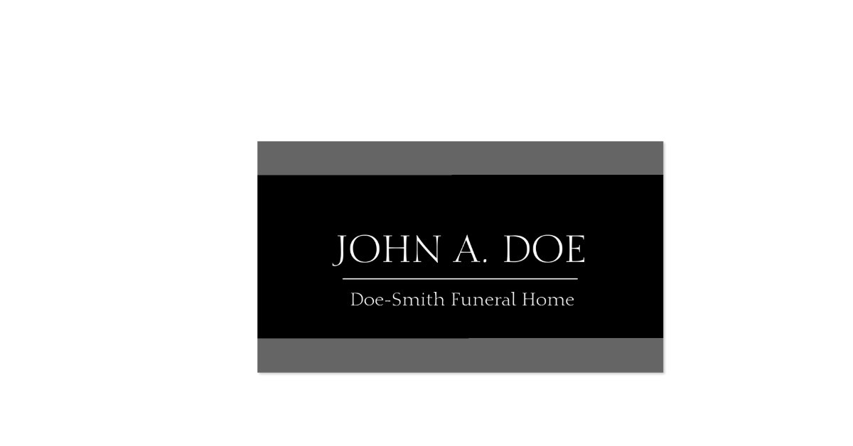 Funeral Director Grey Black Banner Double Sided Standard Business Cards Pack Of 100 Zazzle