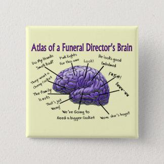 Funeral Director/Mortician Funny Brain Design 15 Cm Square Badge