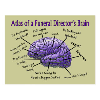 Funeral Director/Mortician Funny Brain Design Postcard