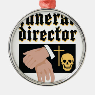 Funeral Director Silver-Colored Round Decoration