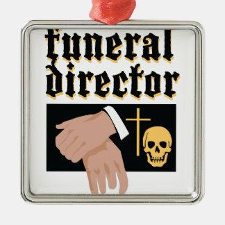 Funeral Director Silver-Colored Square Decoration