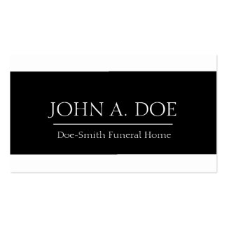 Funeral Director White/Black Banner Business Card