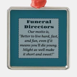 Funeral Directors Silver-Colored Square Decoration