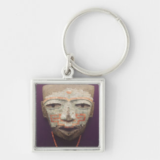 Funeral mask from Teotihuacan Silver-Colored Square Key Ring