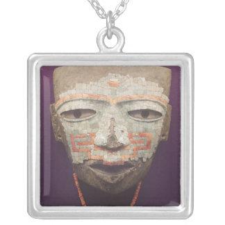 Funeral mask from Teotihuacan Silver Plated Necklace