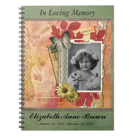 Funeral Memorial Personalised Photo Guestbook Spiral Note Books